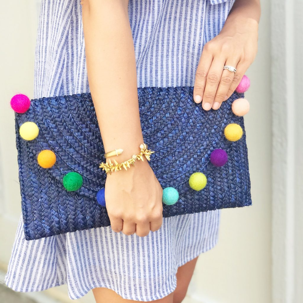 Off the Shoulder Dress Pom Pom Clutch
