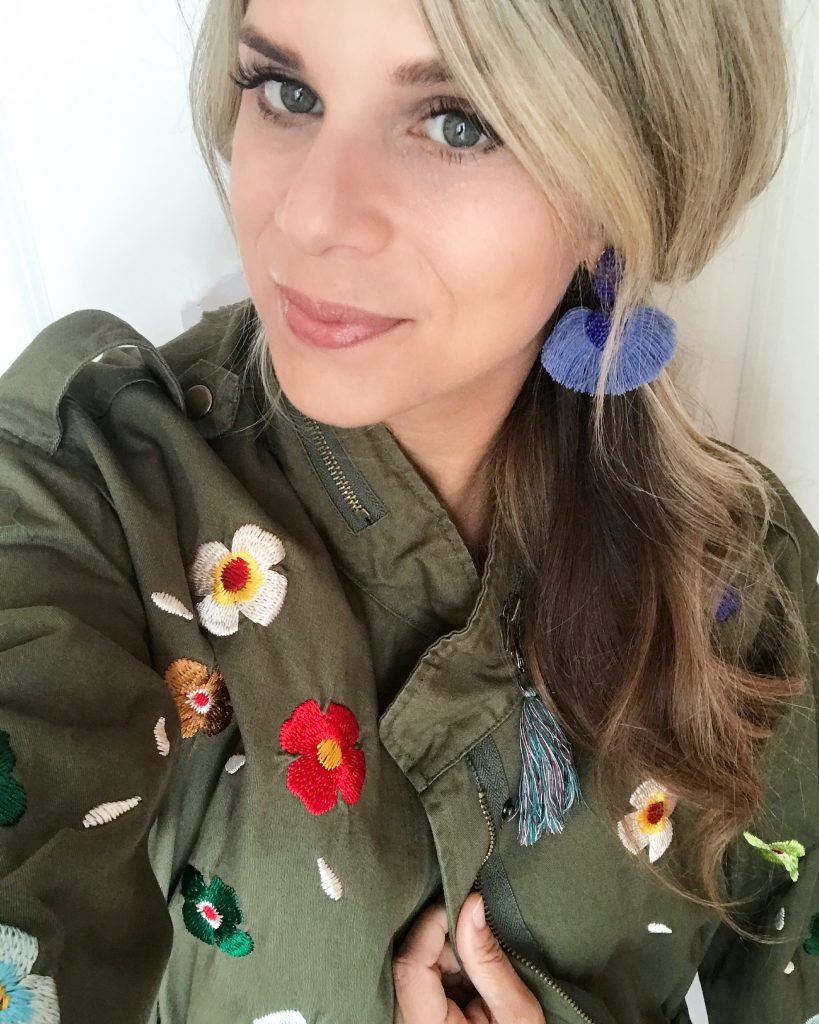 Embroidered Jacket, utility Jacket, Ashton Earrings, Stella Dot