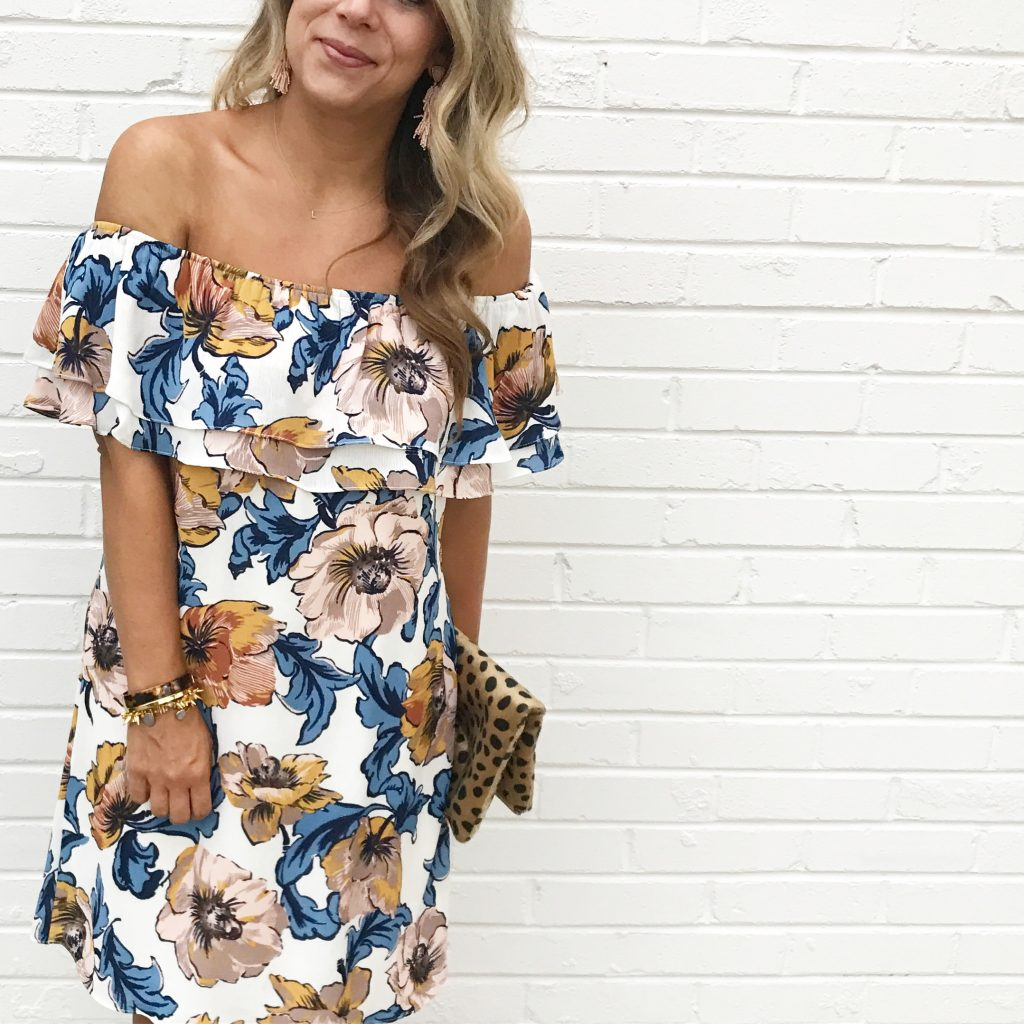 Fall Floral Off The Shoulder Dress Stella Dot