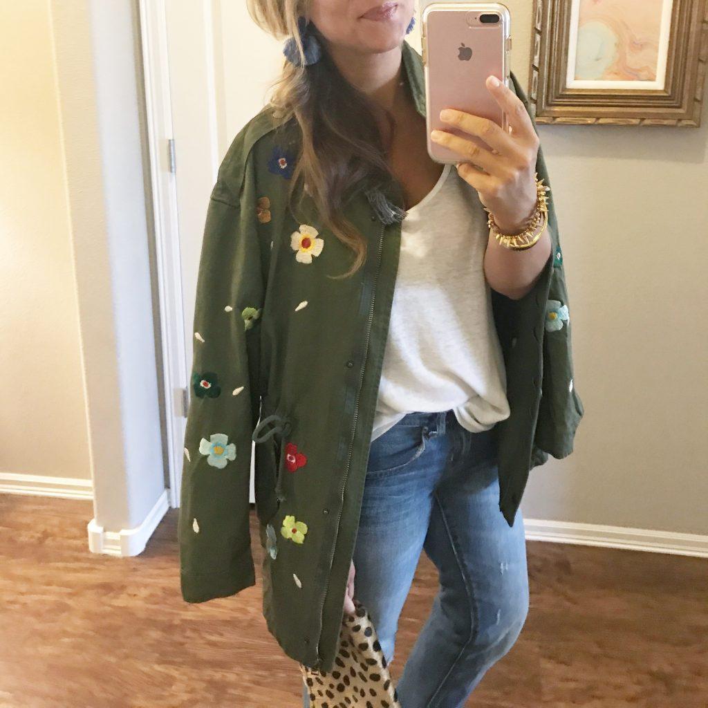 Embroidered Jacket, utility Jacket, Ashton Earrings, Stella Dot