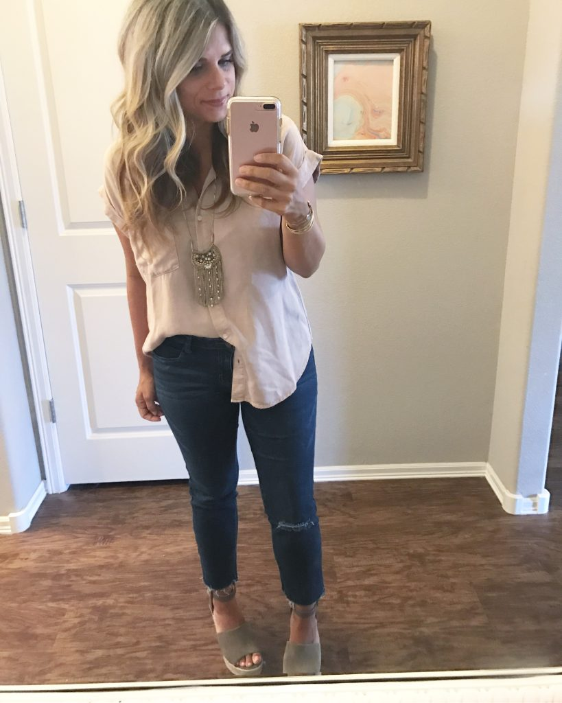 blush blouse Steve Madden Wedges