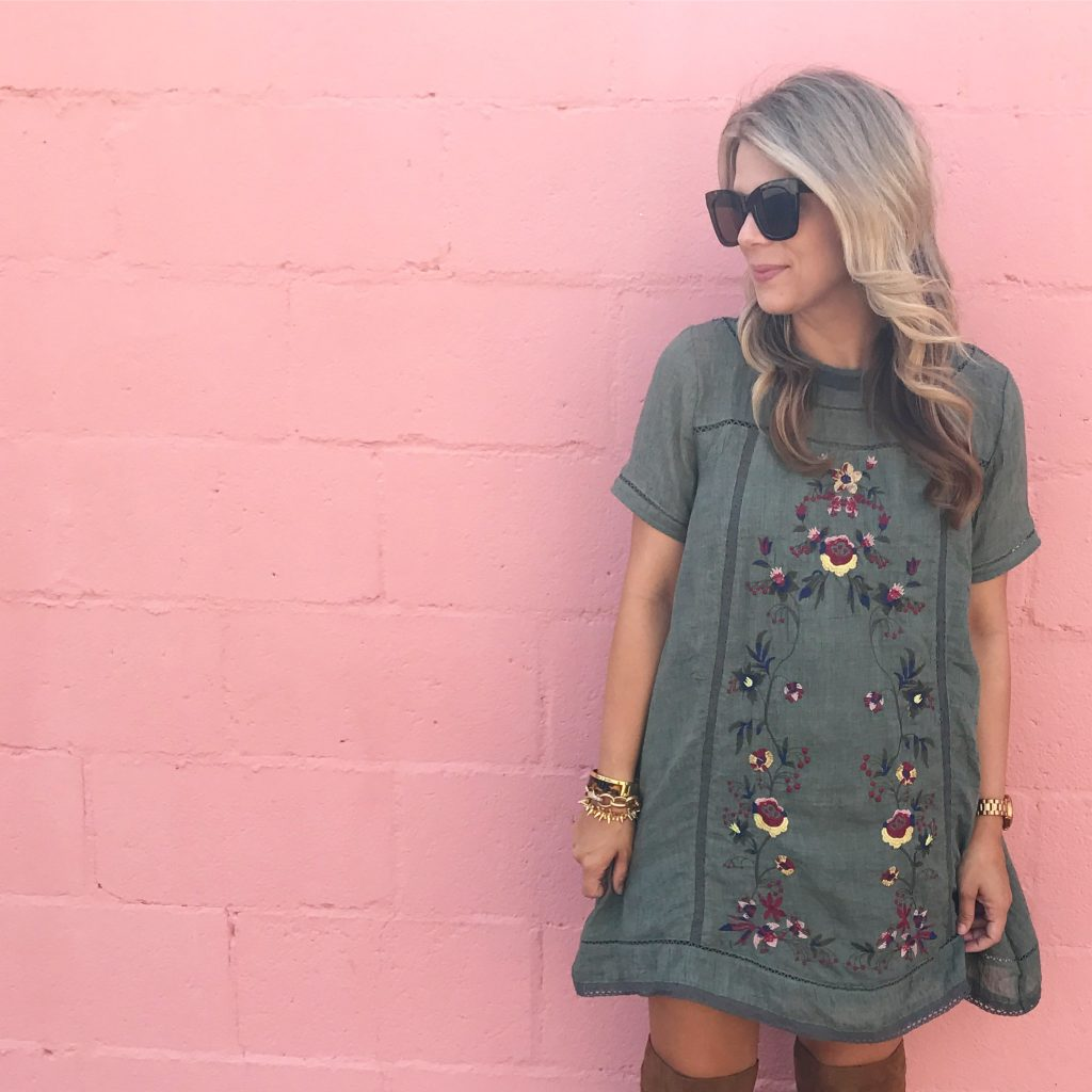 Fall Style, Embroidered Dress, Over The Knee Boots