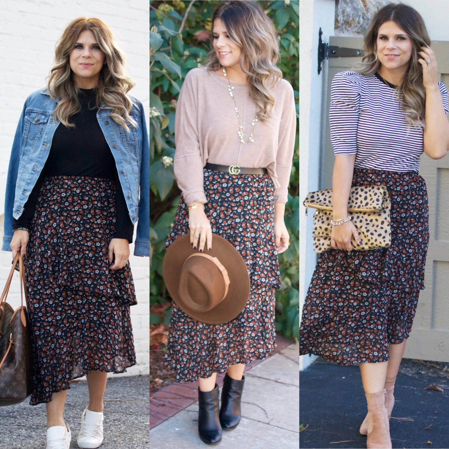 One Skirt, Three Ways, Stella Dot, Nordstrom, fall Style, Midi Skirt