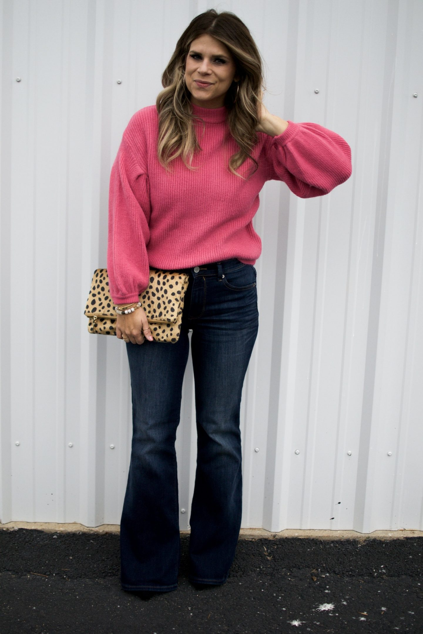 Pink Sweater, Flare Jeans, Leopard Clutch