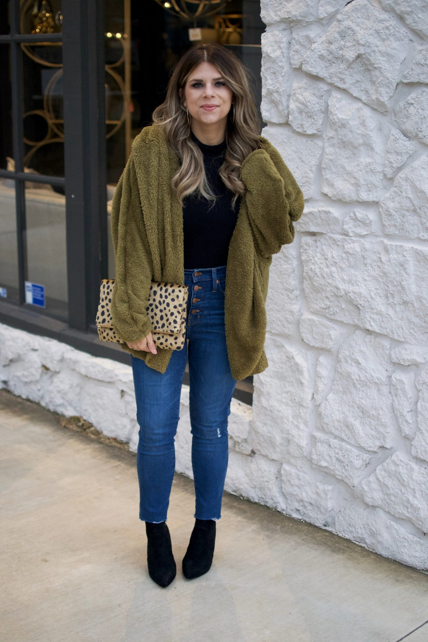 Olive, Teddy Bear Jacket, Coat, Winter Style, Sock Booties, Madewell, Leopard Clutch