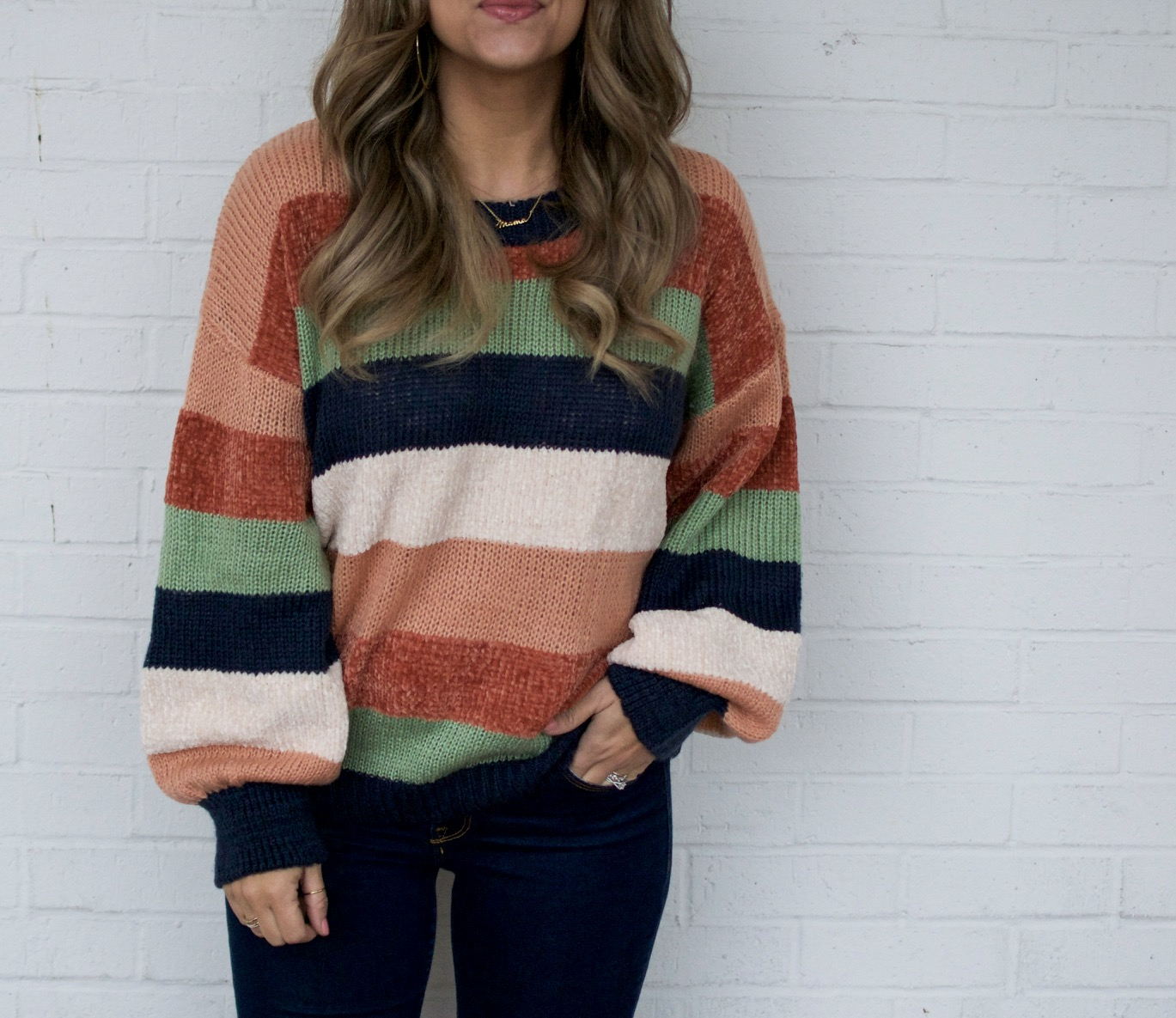 Color block sweater, Mama Necklace, Stella & Dot