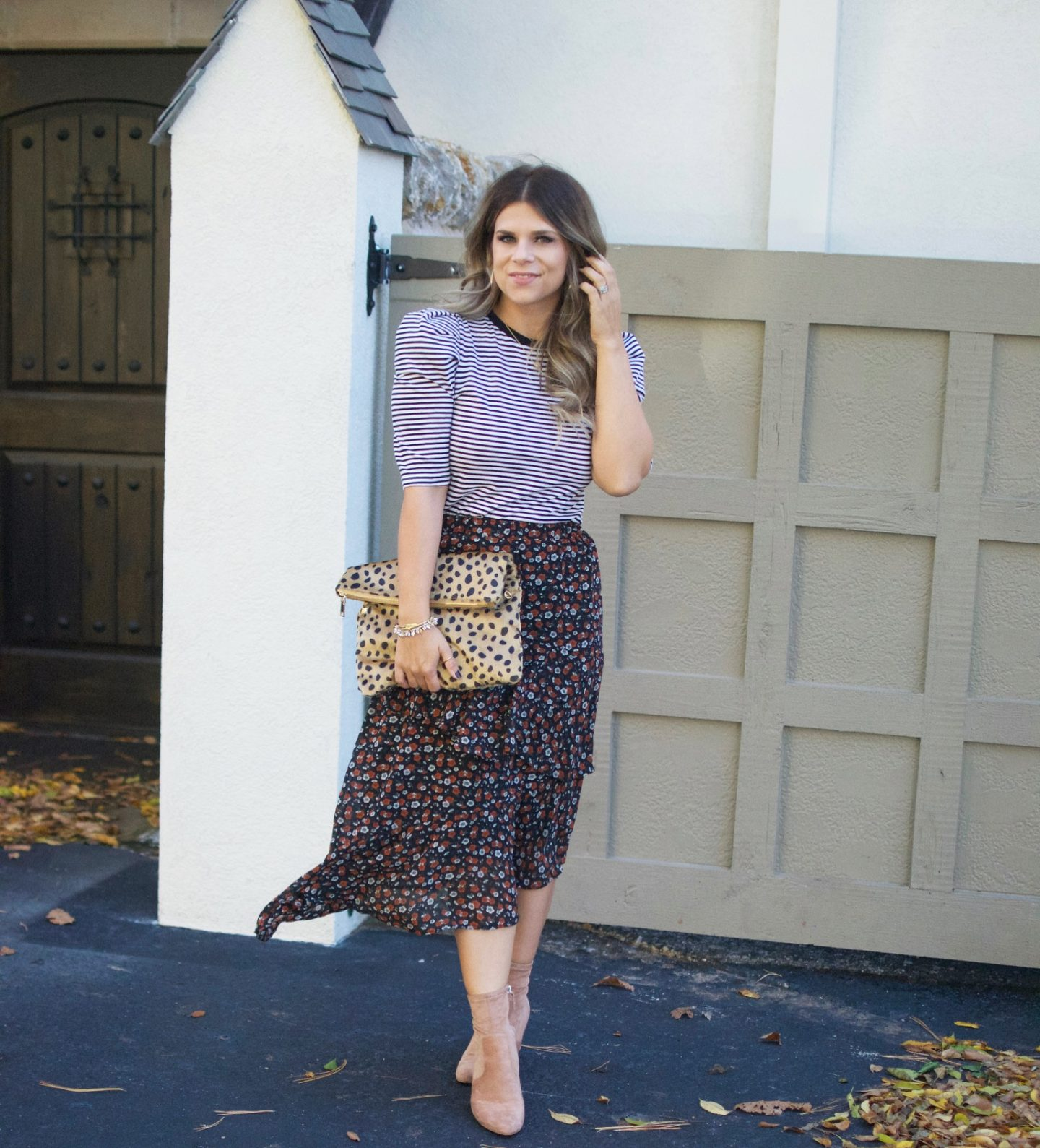 Target, Floral Midi Skirt, Leopard Clutch, Sock Booties, Stella & Dot