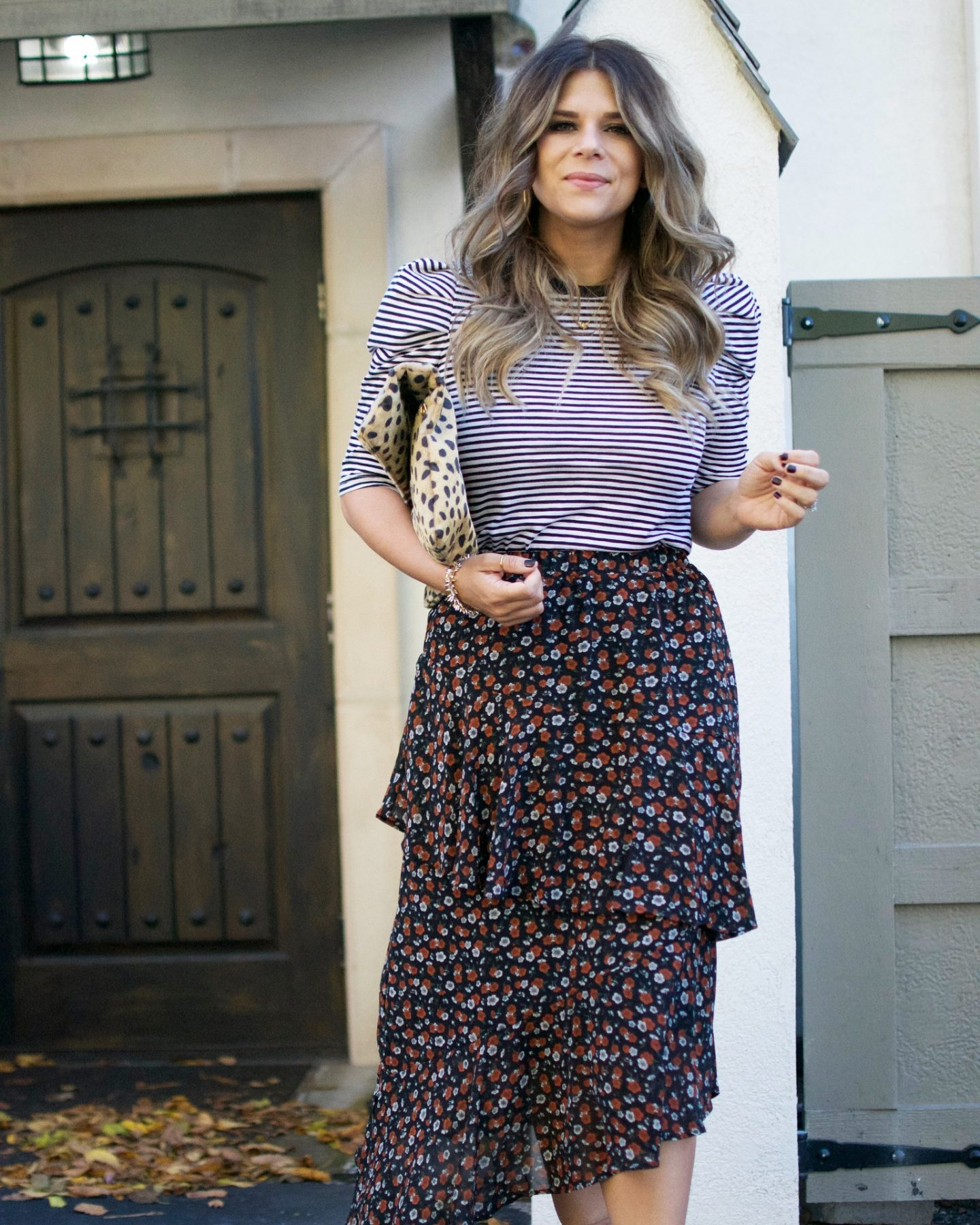 Target, Floral Midi Skirt, Leopard Clutch, Sock Booties, Stella & Dot, Invisalign