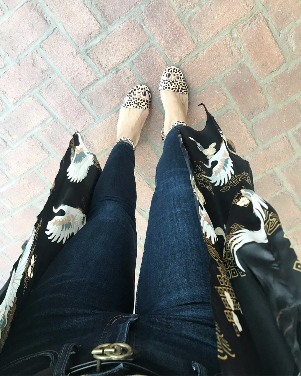 Leopard, Leopard Block Heels, Kimono, Gucci Dupe Belt, How to Style Kimono, Dark Denim, Skinny Jeans, https://rstyle.me/n/dd8hgcccvt7