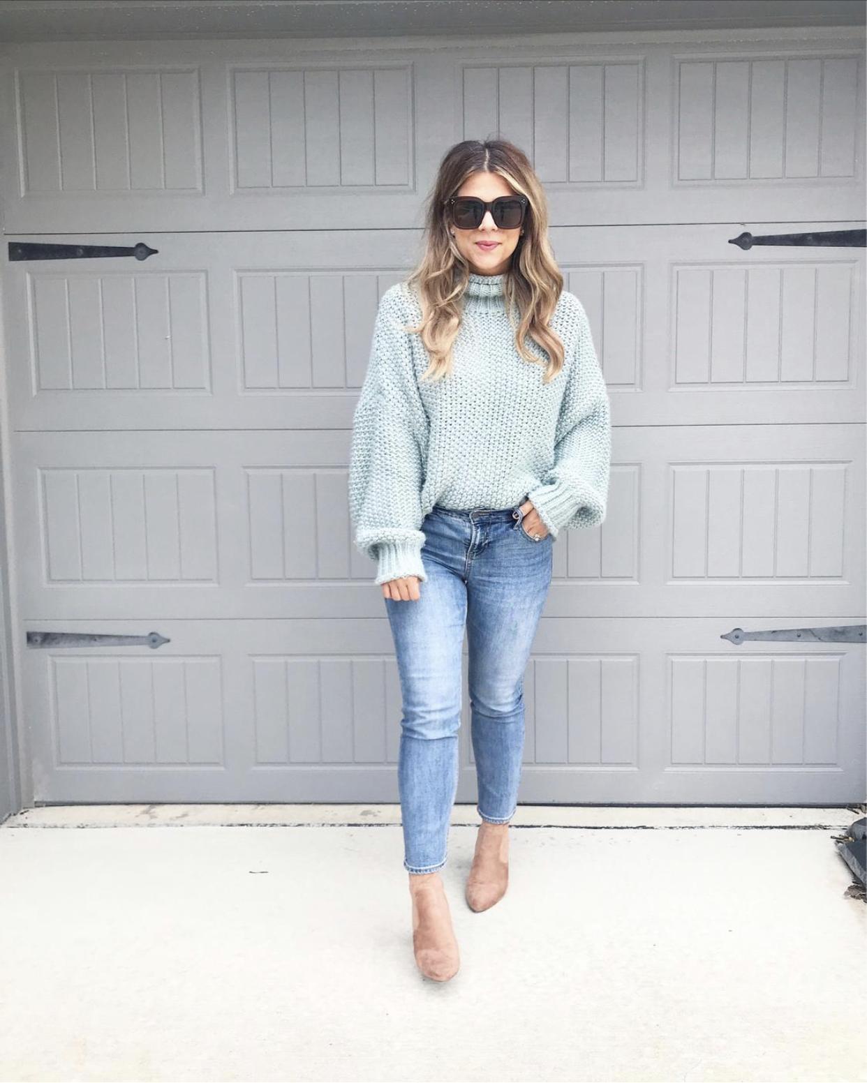 Chunky Sweater, Straight leg jeans, Steven Madden Booties, Sock Booties, Celine Sunglasses