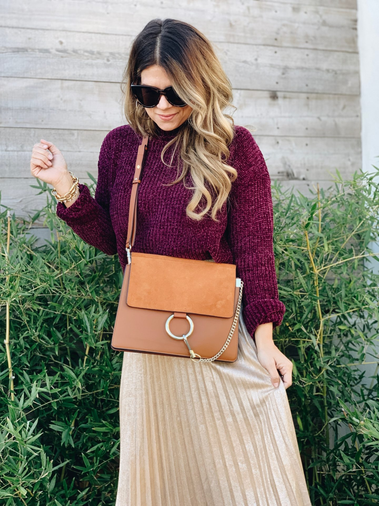 Gold Metallic Skirt, Chloe Faye Bag, Chloe Dupe, Chloe Faye Look For Less, How to style a Gold Midi Skirt