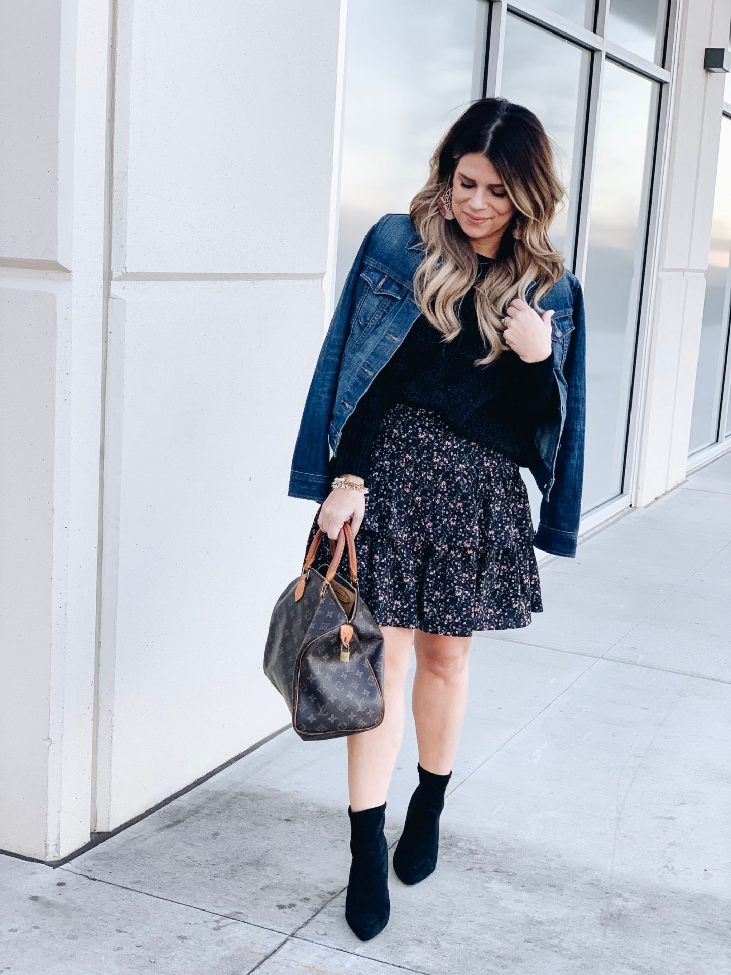 How To Style A Ruffle Skirt, How to Style Sock Booties, Speedy 35, Louis Vuitton, How to Style a Denim Jacket, Date Night Style, Statement Earrings, Stella & Dot