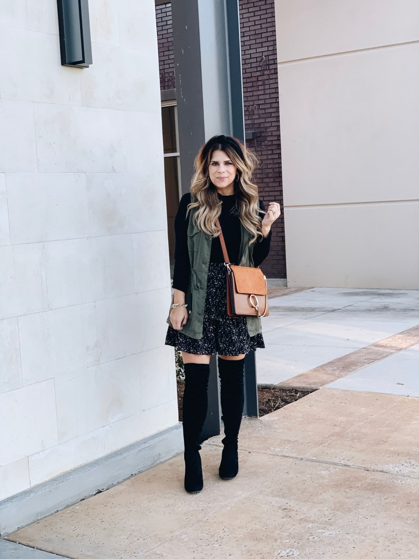 How To Style A Ruffle Skirt, Over The Knee Boots, Black Knot Headband, Chloe Faye Bag, Look for Less, Green Utility Vest, Stella & Dot