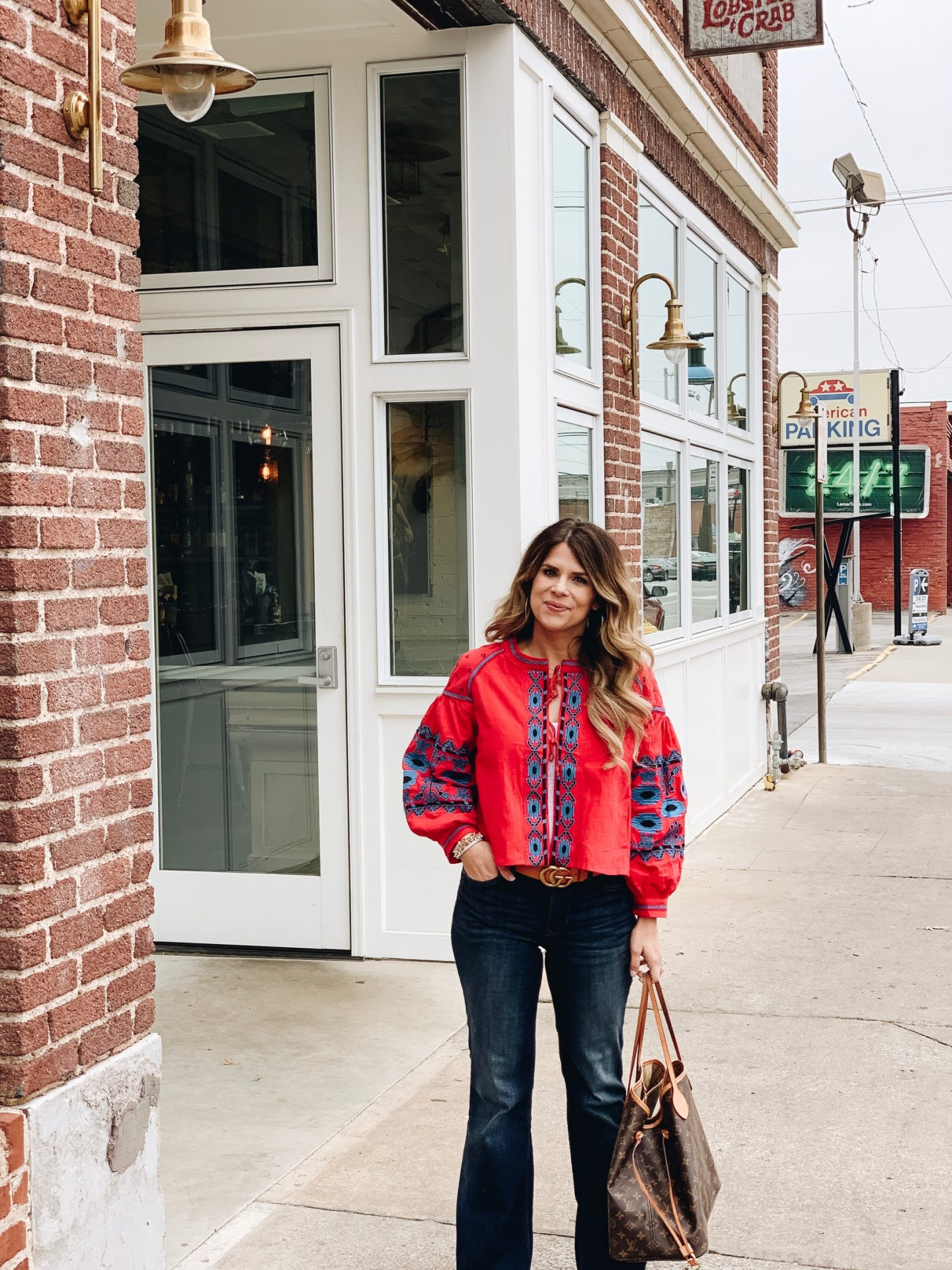 Boho Style, Embroidered Jacket, Flare Jeans. Neverfull GM, Stella & Dot