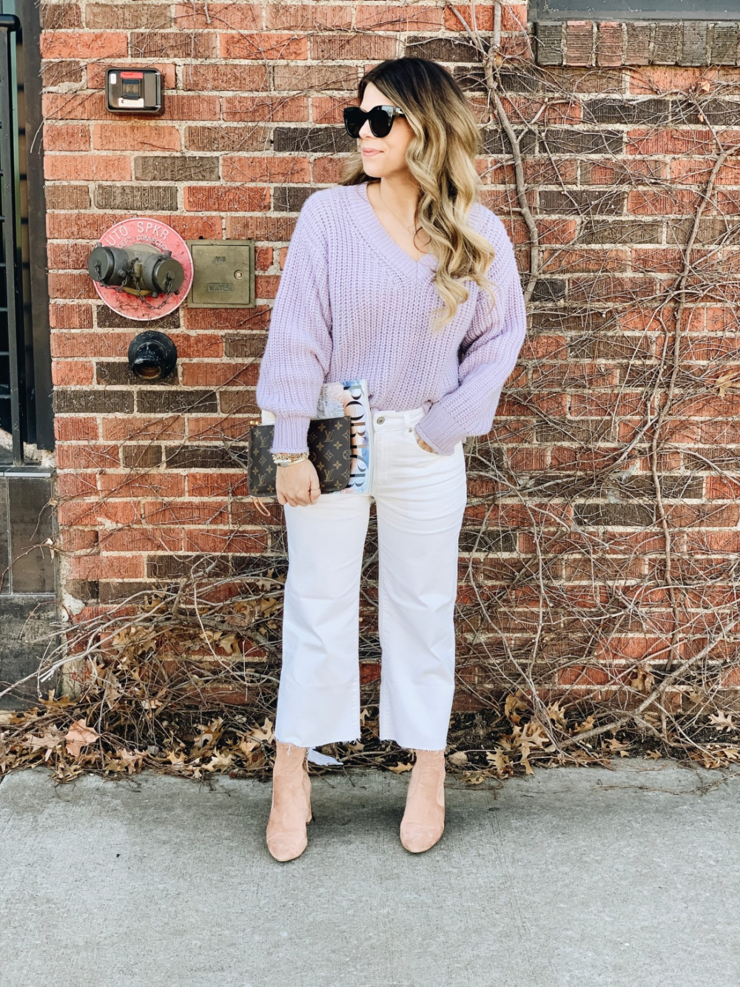 How to style white denim for Winter, Winter Style, White Jeans, Le Specs Air Heart, Neverfull GM, Lavender Sweater