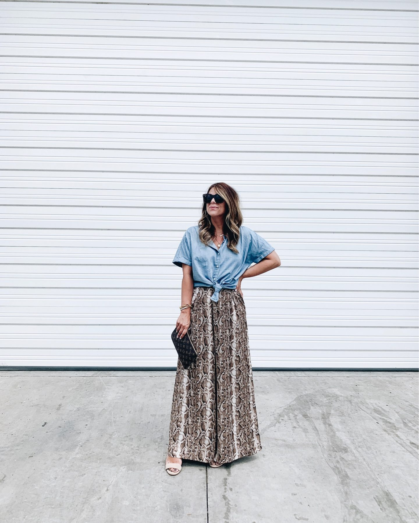 Chambray top, Wide leg pants, Snakeskin