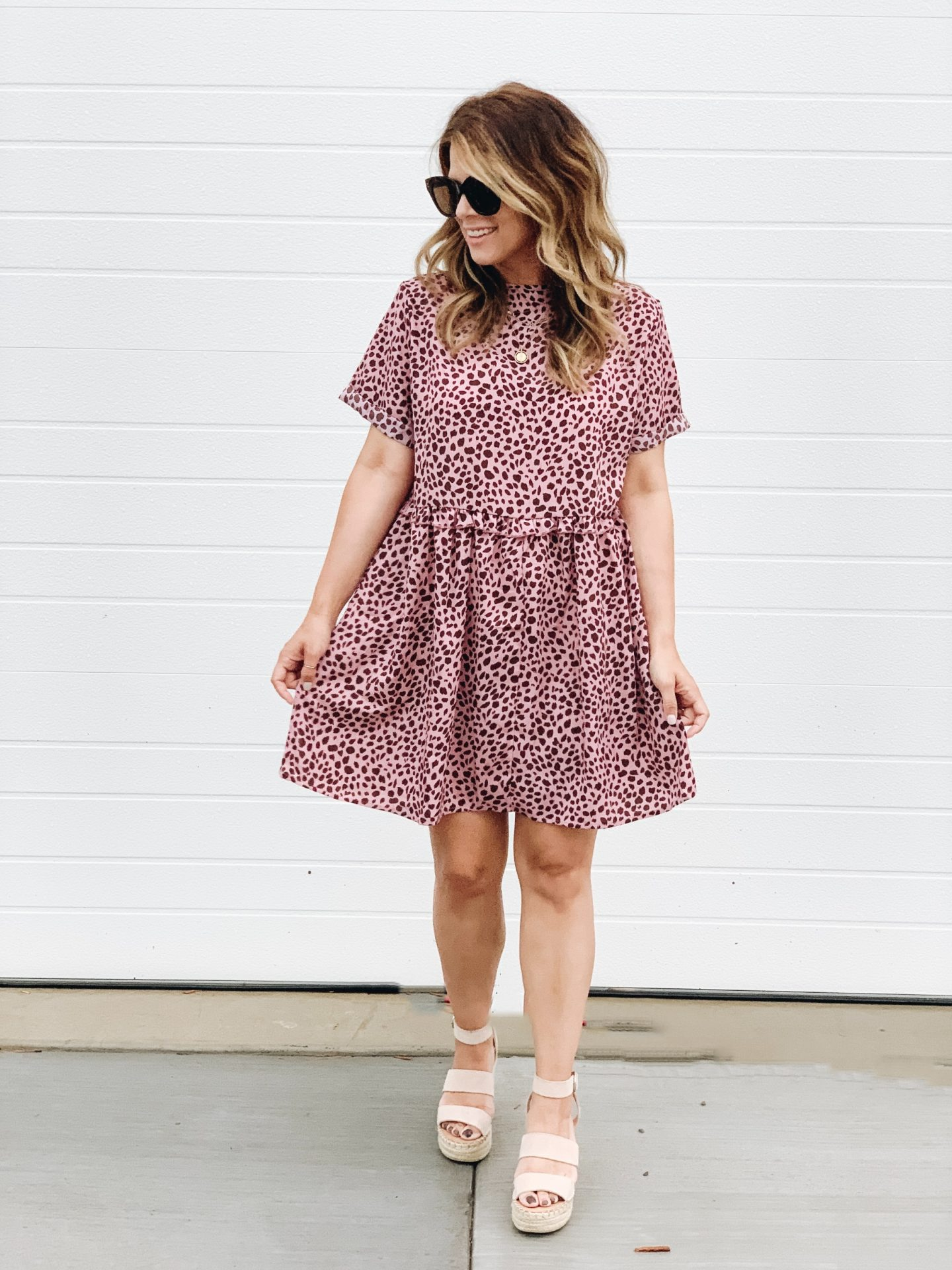 Summer Style, DSW, Amazon Fashion, Pink Mini dress, Nude Wedges