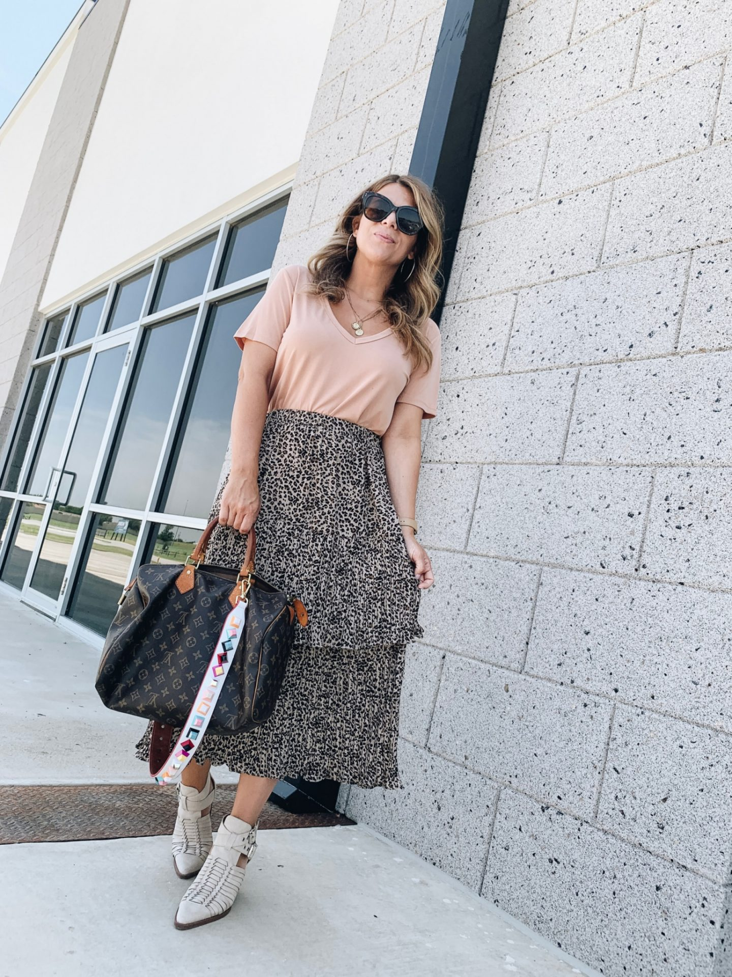 Leopard Midi Skirt, Bag Strap, Speedy 35, How to style leopard, Emerson Charles, #Shopemersoncharles, #emersoncharles