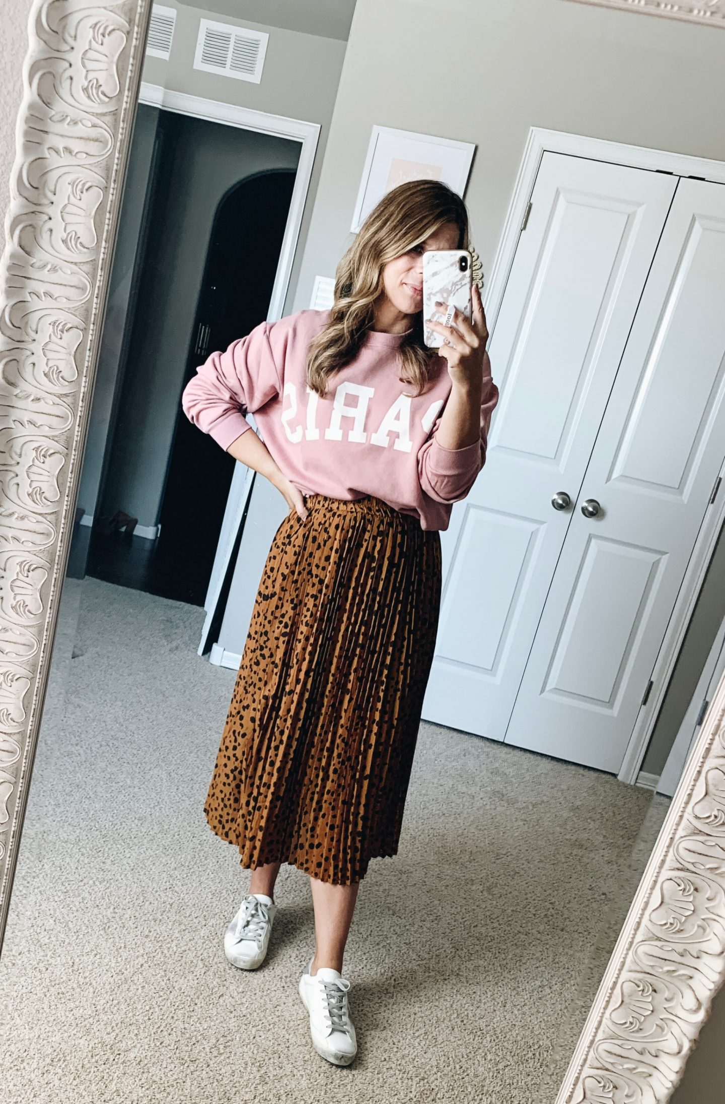 Paris, Casual Style, Animal Print Skirt, sneakers