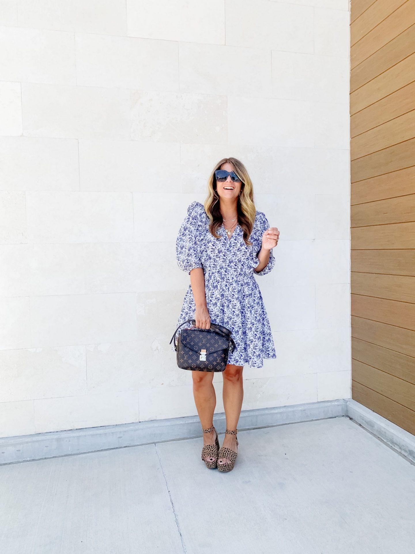 Puff Sleeve Dress, Under $50, Dress, Summer Dress, Floral Dress, Leopard Wedges