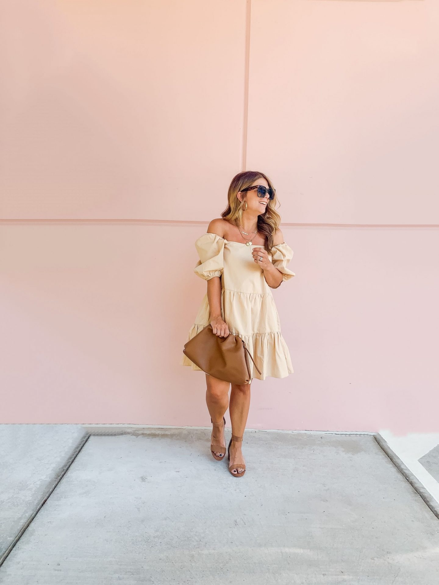 Puff Sleeve Dress, Summer Style, Summer Neutrals, H&M, Cloud Bag, Pink Wall