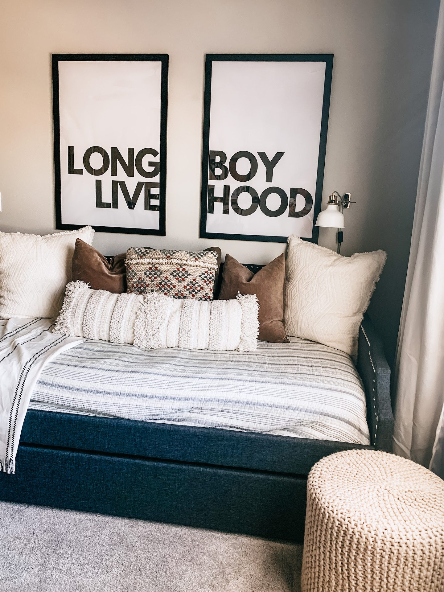 Big Boy room, Tween Boy Room, Daybed, Long Live Boy Hood, Mature Boy Room, DIY, Large Scale Print DIY, Kid Room, Kid Desk