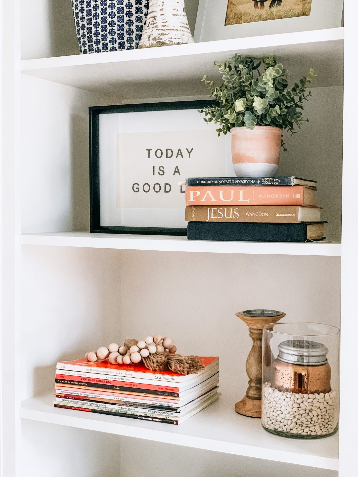 Home office, boho decor, ginger jar, office, gold lights, home decor, office design, anthropologie home, Target Home, Built ins, Shelf Decor