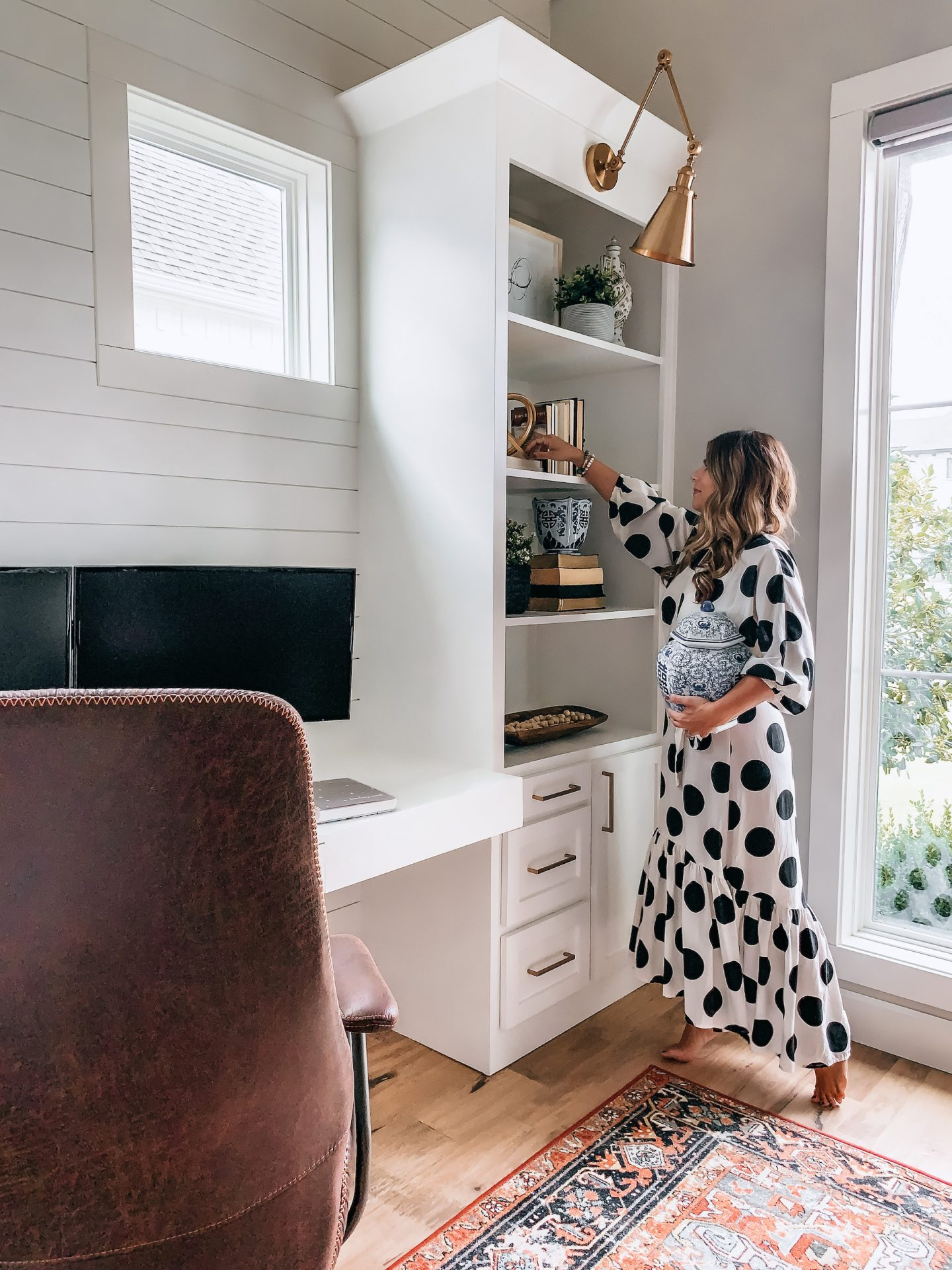Home office, boho decor, ginger jar, office, gold lights, home decor, office design, anthropologie home, Target Home, Built ins, Shelf Decor