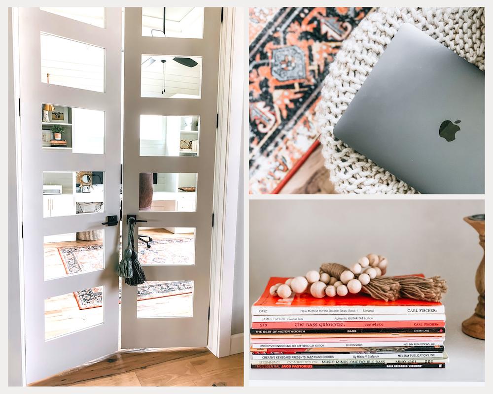 Home office, boho decor, ginger jar, office, gold lights, home decor, office design, anthropologie home, Target Home